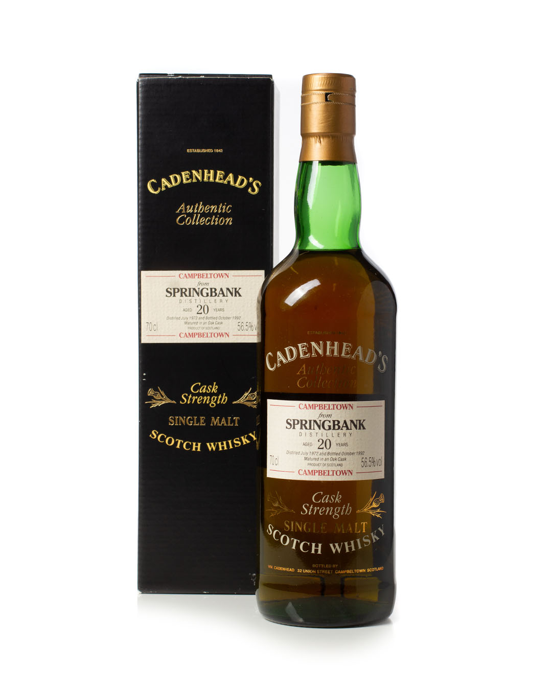 Springbank 1972 20 year old Cadenhead's Authentic Collection with box for sale